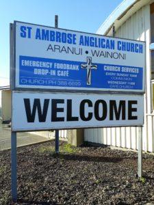 signage outside St Ambrose Church