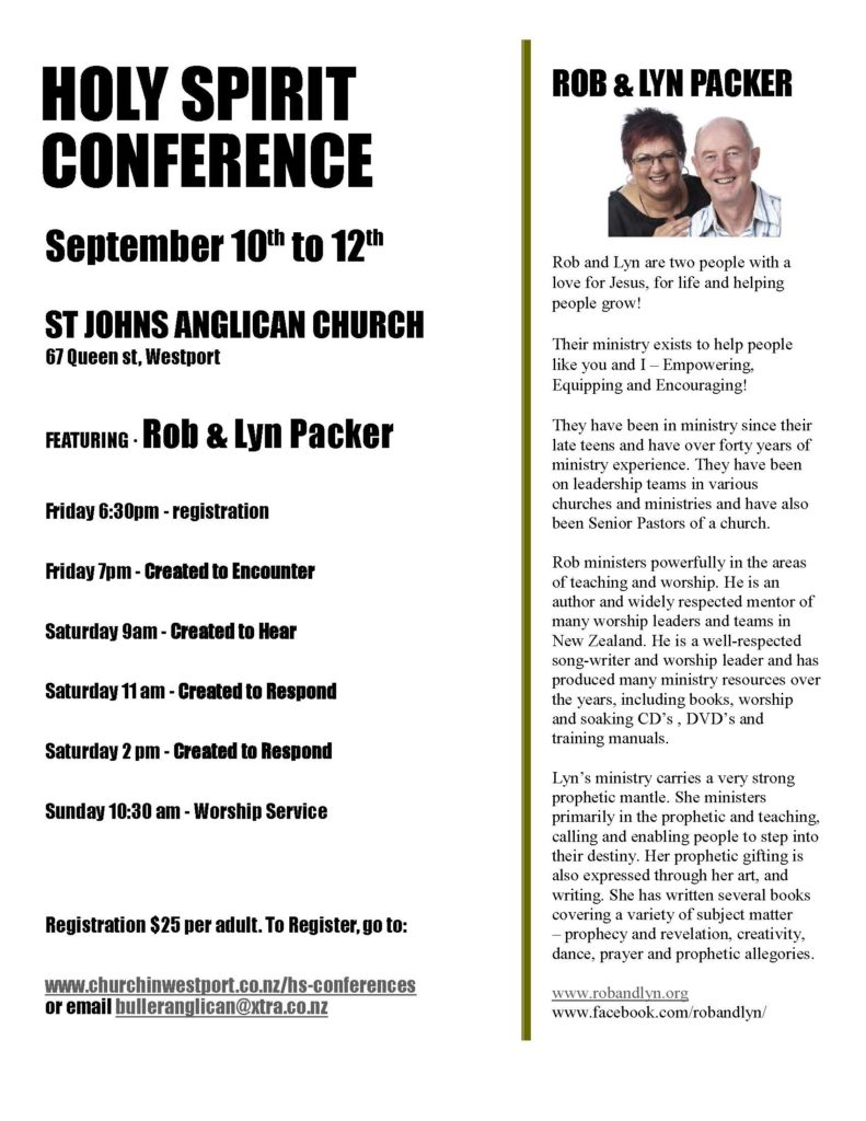 Holy Spirit conference at St John's Westport.  September 10 to 12.
